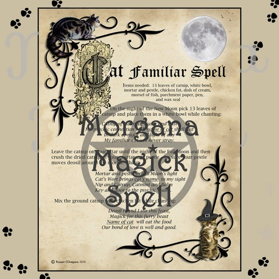 CAT FAMILIAR SPELL  Digital Download, Book of Shadows Page,Grimoire,  Wicca, Pagan, Witchcraft, White Magick, Magick Spell