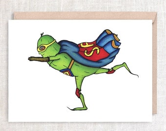 SUPER PICKLE - Aspire to Inspire (one day even super pickles could fly) - Graduation, celebration, happy birthday, encouragement  Card