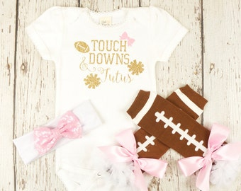 football baby, girl football outfit, girl outfits, tutus and touchdowns, football dad shower gift, baby girl outfit, infant football clothes