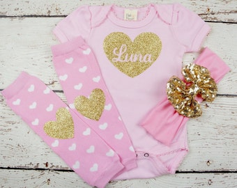 1st Valentines Day Outfit, Baby Girl Valentines Outfit, Newborn Valentines Outfit, Baby's 1st Valentines, Baby Girl Valentine's Day Outfit