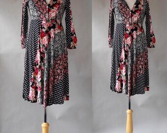 90s Retro Boho Floral Print Dress