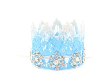 Winter Wonderland crown|| frosted tips jeweled snowflakes|| headband ||Frozen Elsa Inspired || Cake topper || photography prop