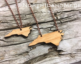 "1.75"" North Carolina Wood State Necklace - Large Size - Customizable Wood Necklace - Wooden NC State Jewelry with Copper Tone Chain"