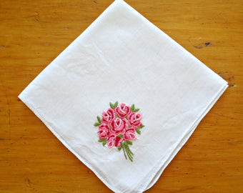 Handkerchief Hanky Hankie Vintage Hankys Hankies Antique Handkerchief Hankerchief Embroidery Pink Roses