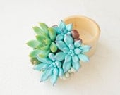 Blue Green Succulent Ring Box Wood Round Proposal Offer Ring Holder Ring Case Engagement Wedding Bridal Engagement Gift