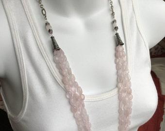 Long rose quartz necklace and earring set