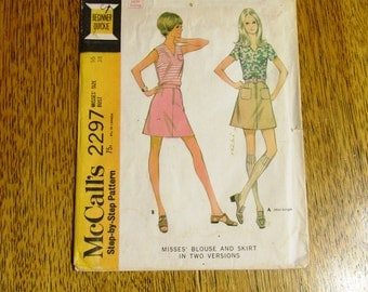 MOD 1970s A-Line Mini Skirt & V-Neck Blouse / Tank Top - (Go-Go Fashion) - CHOOSE Size 12 or 16 - UNCUT Vintage Sewing Pattern McCalls 2297