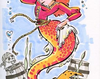 POTC Redhead Mermaid drawing