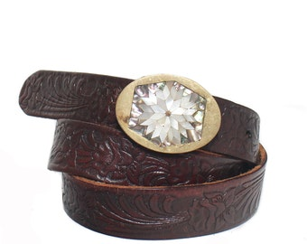 36 waist | Brown Tooled Leather Belt w/ Solid Brass Abalone Buckle