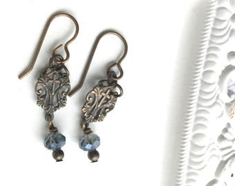 Ave Maria Earrings - Mary Earrings - Bronze Earrings - French Earrings - Blue Glass Earrings - Religious Earrings - True Bronze Earrings