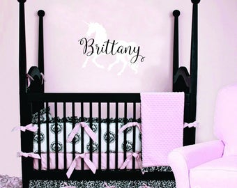 Unicorn Decor - Unicorn Wall Decal - Baby Nursery Wall Decal - Monogram Wall Decal - Personalized Name Wall Decal - Gold Wall Decal