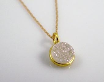 Agate druzy bezel necklace, vermeil round druzy pendant on 14k gold filled chain, druzy necklace, layering necklace
