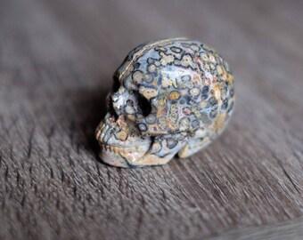 RESERVED - Leopardskin Jasper Carved Crystal Skull