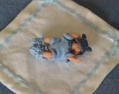 Dollhouse Miniature Baby - 1/12th Scale Newborn Japanese/Asian American Boy in Blue Layette - Handmade OOAK Polymer Clay - Yuki Dai