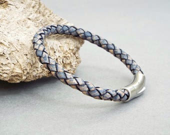 Mens Leather Bracelet, Boyfriend Gift, Blue Leather, Mens Leather Bangle, Husband Gift, Braided Bracelet