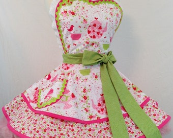 Strawberry Tea Party Pinup Diner Apron  - Yes, Please, Woman's Apron