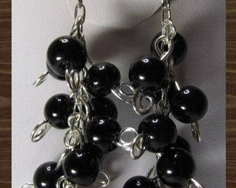 Black bead cluster wire wrapped with swirls earrings
