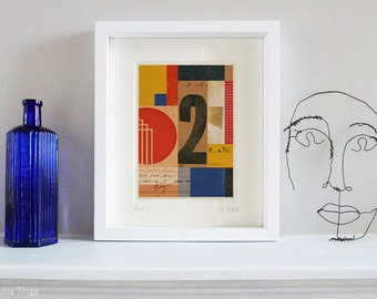 Color block geometric collage, Schwitters style, fine art print, 8 x 10 inch mount. Title: Signals REP 2