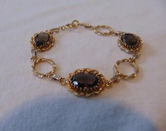 vintage gold filled topaz smokey link bracelet brown