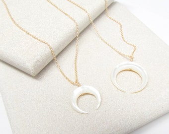 Mother of Pearl Double Horn Necklace - Pearl Necklace - Horn - Pendant Necklace - Charm Necklace