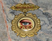 Antique Odd Fellows All Seeing Eye 2 Piece Medal - Celluloid & Brass - Vivid Fraternal Imagery - Rare IOOF Regalia