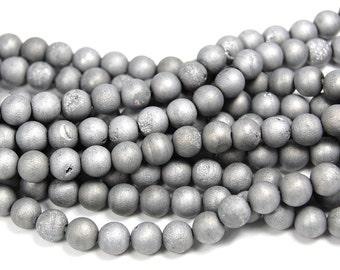 6mm Druzy Agate Silver Round  -15 inch strand