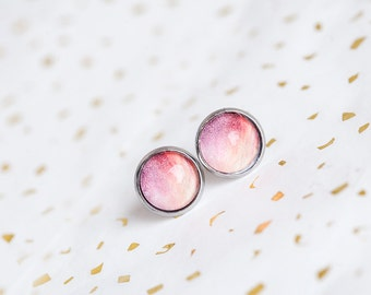 Sunset Pink Studs, Pink, Studs, Stud Earrings, Pink Studs, Sunset, Pink Ombre, Feminine, Sky, bees and buttercups, Pink Earrings