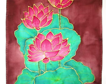 Pink Lotus Silk wall hanging, lotus art, meditation, spiritual, yoga art, reiki, home decor, silk art, hand painted silk, spiritual gift,
