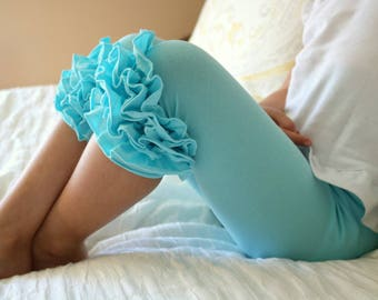 Ruffle Capris - Robin's Egg Blue - aqua blue knit ruffle capris sizes 6m to girls 8 - Free Shipping