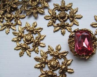 6 Vintage Rose Filigree Finding