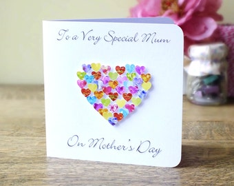 Mother's Day Card - Handmade Personalised - Personalized - Happy Mothers Day - Love Heart - Customised - Mom - Mothering Sunday - BHE31