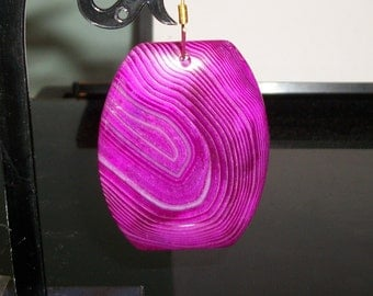 """Magenta Agate signature gemstone Faceted pendant or focal beads- 50 x 35 mm-(2 """" x 1 1/2"""")-3167  -(1 piece)"""