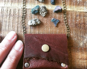 Healing Crystal Holder - Recycled Leather Jewelry - Talisman Pouch Necklace - Soft Dark Brown Leather - Amulet Bag Necklace - Medicine Bag