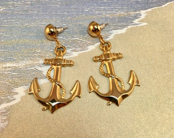 Vintage Gold Anchor Dangle Post Earrings, 2 inches long 1 inch wide, Anchors Away Post Earrings with Original Backs