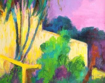 "South of France Painting, Original Acrylic Semi Abstract Painting, 28 x 22"", ""South of France Sojourn"", by Kim Stenberg, Contemporary Art"