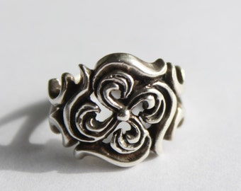 Ornate Scroll Ring 925 Sterling Silver