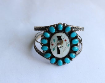 Old Vintage Native American Zuni Bird Mosaic Inlay Cuff Bracelet Sterling Coral Turquoise settings