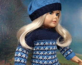 OOAK Faux Fair Isle Sweater dress and matching beret for American Girl or similar 18 inch doll.