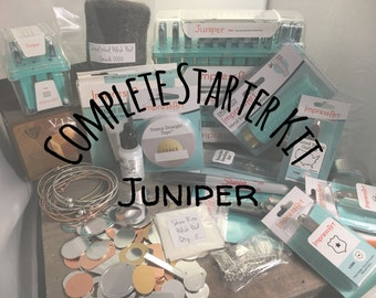 Juniper: Complete Starter Kit for Bracelet Making, Hand Stamped Jewelry Making DIY Stamp Kit, Metal Alphabet Set & Hammer, Hole Punch, Block