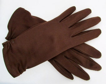 Late 50s/early 60s chocolate brown gloves - free US shipping!