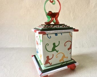 Colorful Handmade Box with Playful Monkeys for Decor and Gift