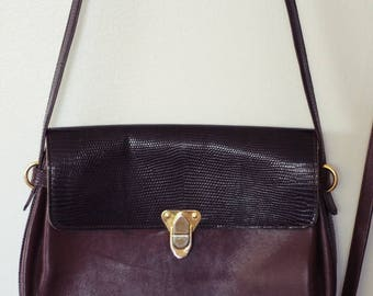 60s Italian Brown Leather Crossbody Purse