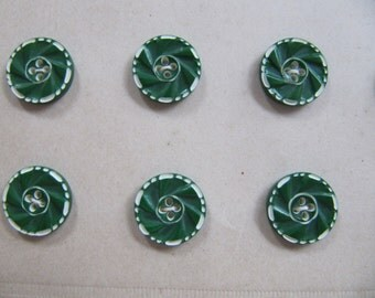 Art Deco 1930's buttons, 24 small vintage casein button, quality galalith plastic buttons made in Germany, unused green & white 12mm buttons
