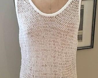 Eileen Fisher White Mesh Vest