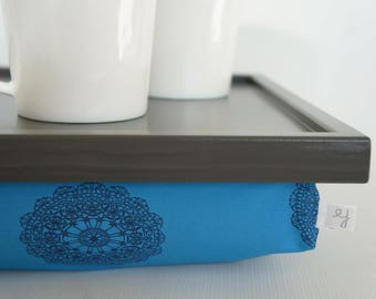 Wooden Pillow tray for breakfasts in bed, laptop stand with support cushion - graphite grey tray, petrol blue, crochet print pillow