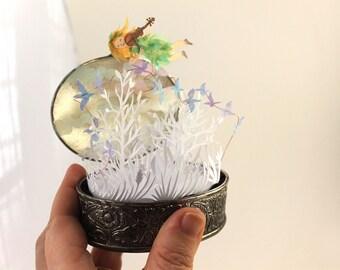 Paper sculpture handmade paper cutting home decor OOAK original diorama contemporary art paper art paper cuts