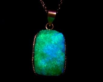 Green Goddess - GLOW in the DARK Green Druzy Necklace Neon