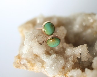 14k gold and turquoise earrings, simple studs, american mined sunset kingman turquoise, 6mm stone, december birthstone