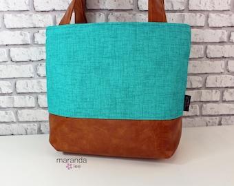 Lulu Medium Tote  Bag - Teal Denim and PU Leather -   Zipper Closure Purse Shoulder Straps 3 pockets Handbag Washable