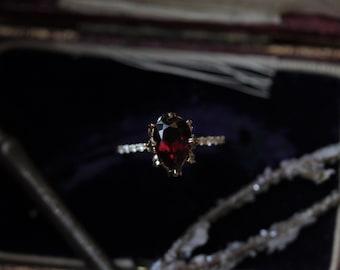 Garnet Engagement Ring, Pear Engagement Ring, Antique Engagement Ring, Custom Engagement Ring, Gold Leaf Ring, Diamond Engagement Ring.